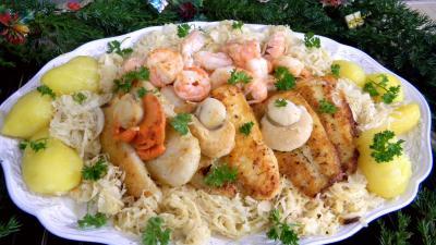 Recette fruits de mer, panga et choucroute