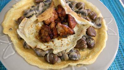 Abats : Crêpes aux ris de veau, châtaignes et champignons