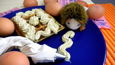 gaufrier : Assiette de gaufre à la crème de pistaches