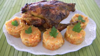 Poulet sauce soja à la purée de carottes