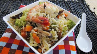 Image : Assiette de riz minceur aux crevettes