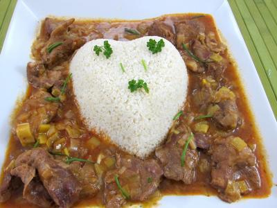 bouquet garni : Plat du millet en forme de coeur, entouré de l'agneau au marsala