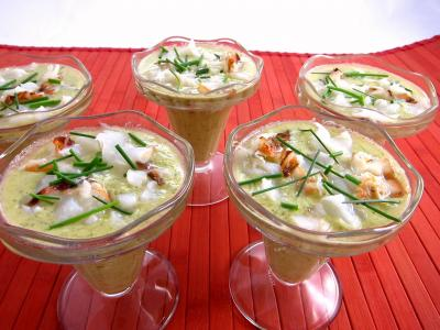 Recette Coupes de gaspacho de brocolis et de petits pois