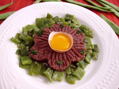 Image : recette Tartare de boeuf aux haricots plats