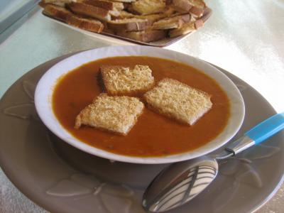 Recette Assiette de crème de tomates et haricots verts