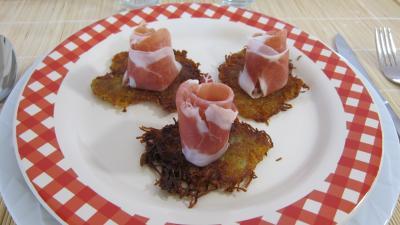 galette : Assiette de röstis de pommes de terre au jambon de Parme